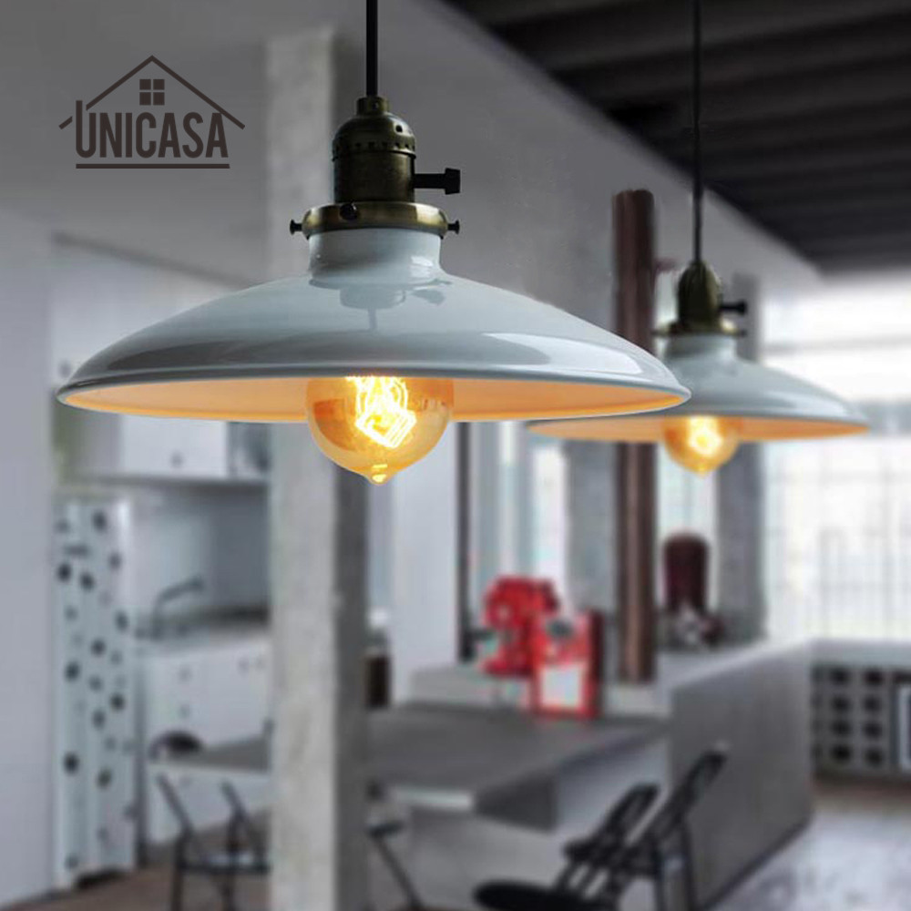 Cord Pendant Mini Iron Lighting Industrial Light Fixture White Shade Ceiling Lamp Living Room Kitchen Led Vintage
