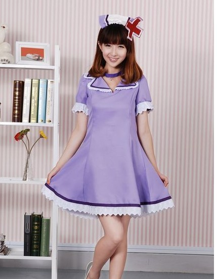 Janpanses anime Hatsune miku Vocaloid cosplay costume OSTER project cosplay nurse costume purple for party coaplay in stock