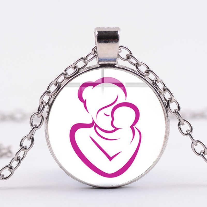 SIAN Criativo Colar de Figuras Da Vara Da Família Mãe Pai Do Bebê Foto Cabochon Colar de Vidro para As Mulheres Jóia Da Forma Presente do Dia Das Mães