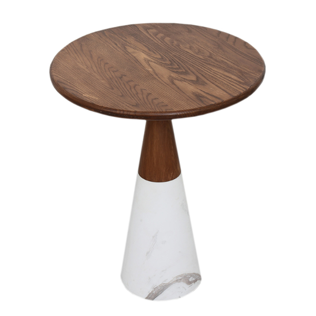 Round Coffee Table Wood Top Marble Base Side Table For Living Room