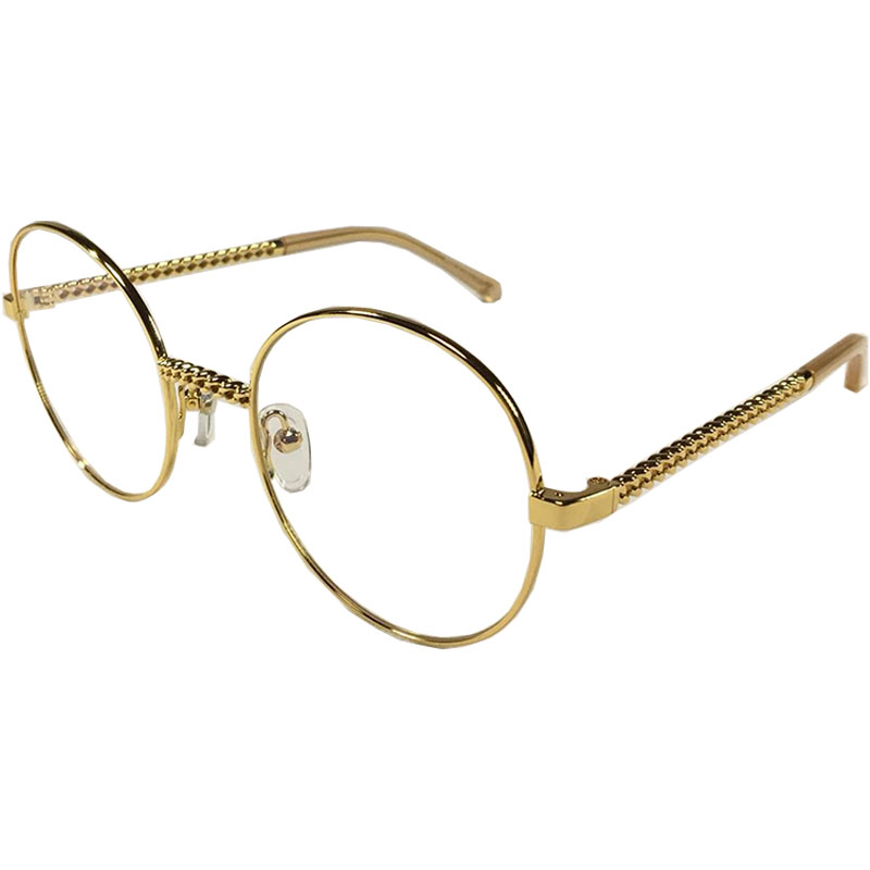 Sams&So Woman Retro Large Round Glasses Transparent Metal chain decoration eyeglass frame Pink Silver Gold spectacles Eyeglasses