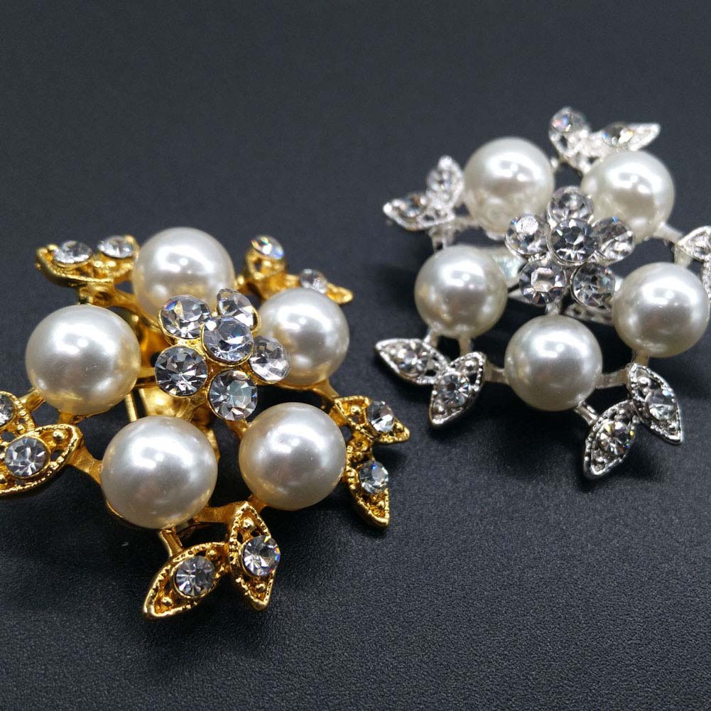 Gold Color Simulated Pearl Flower Brooches Rhinestone Scarf Buckles ... b4aee155ef42