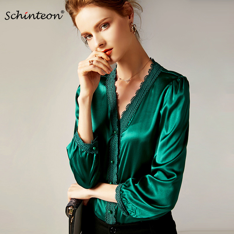 2019 Schinteon European and American Fashion Blouse Women Real Silk V Neck Collar Long Sleeve Solid