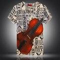 Personalizado violoncelo padrão letras camisa impressão digital t homme 2016 Verão estilo Americano de moda de manga curta t camisa M-3XL