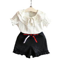 Girls Clothing Sets 2017 Summer New Fashion Girls Clothing Sets Kids Ladies Bow Sleeveless Shirt Shorts
