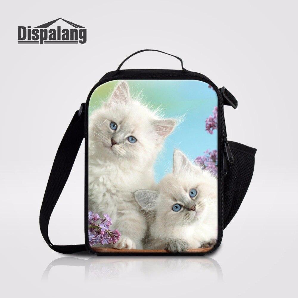 Dispalang Thermo Lunchbox Picknick Aufbewahrungstasche Nette Katze Isolierte Lunchpaket Für Schule Mitnehmen Schulter Eisbeutel Kühltasche Tasche