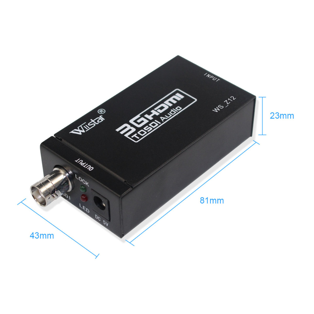 Wiistar Mini HDMI To SDI SD-SDI HD-SDI 3G-SDI HD Video Converter Adapter For Home Theater Cinema PC With Power Adapter