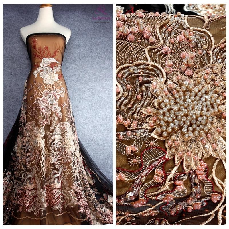 La Belleza HOT mieszane kolory ciężki zroszony na czarny/biały mesh suknia ślubna/pokaz mody/koronkowa suknia wieczorowa tkaniny 1 stoczni w Koronka od Dom i ogród na  Grupa 1