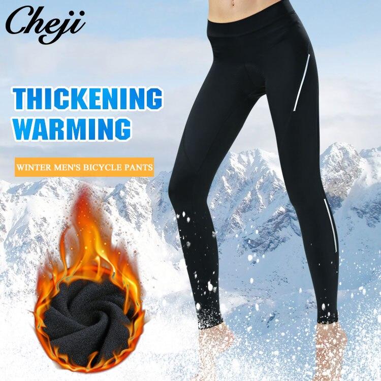 CHEJI Padded Reflective Warm mtb road Bike Pants Tights Riding Sportswear Winter Thermal Fleece Women Cycling Long Pants