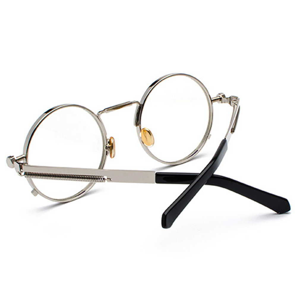 313b38f193e ... Peekaboo vintage steampunk glasses round men gold fashion retro round  circle metal frame eyeglasses frame for