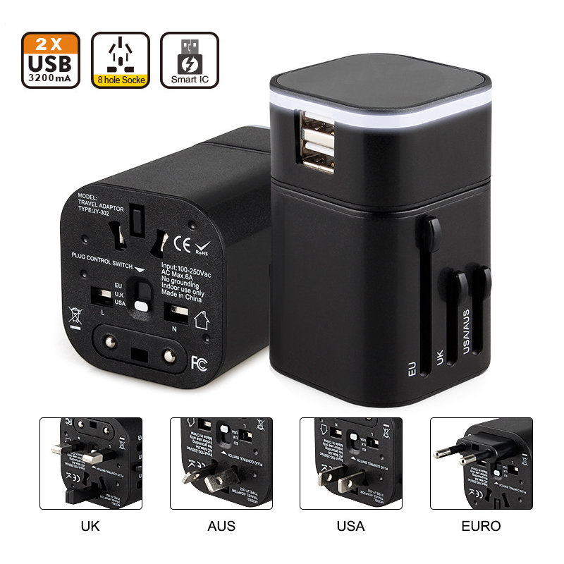 Universal International Travel Adapter with Dual usb Charging Ports 100V~240V US EU UK Smart Plug Power Adapter for Mobile Phone detachable universal compact dual usb ac power charger adapter blue 100 240v uk plug