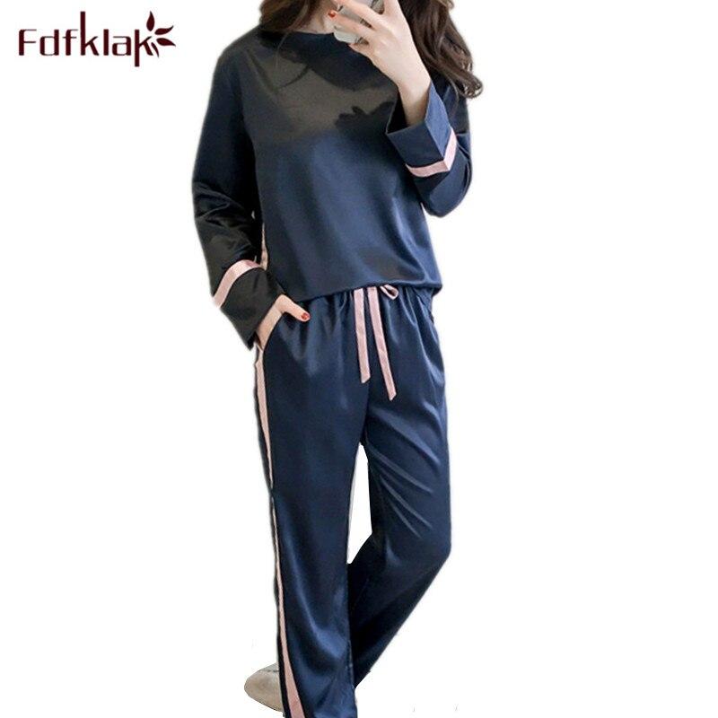 Fdfklak Casual silk   pajamas   women streetwear   pajama     set   ladies pijama long sleeve pyjamas women spring summer sleepwear suit