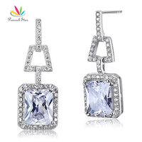 Peacock Star 8 Carat CZ 925 Sterling Silver Dangle Bridal Wedding Earrings Jewelry CFE8098