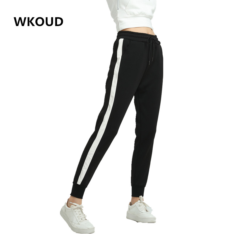 WKOUD Women Pants Side Striped Sweatpants Spring Ankle-Length Loose Harem Trousers Black with White Female Casual Wear P8095