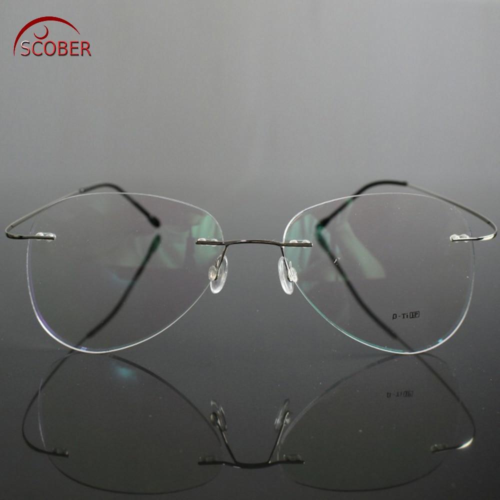 SCOBER = Large Frame Pilot New B Titanium ONLY 2G Ultra-light Bomb MEN WOMEN Rimless READING GLASSES +0.75 +1 +1.25 +1.75 To +4