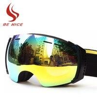 Benice Ski Goggles Brand Professional Double Lens Anti Fog UV400 Big Spherical Ski Glasses Snow Goggles