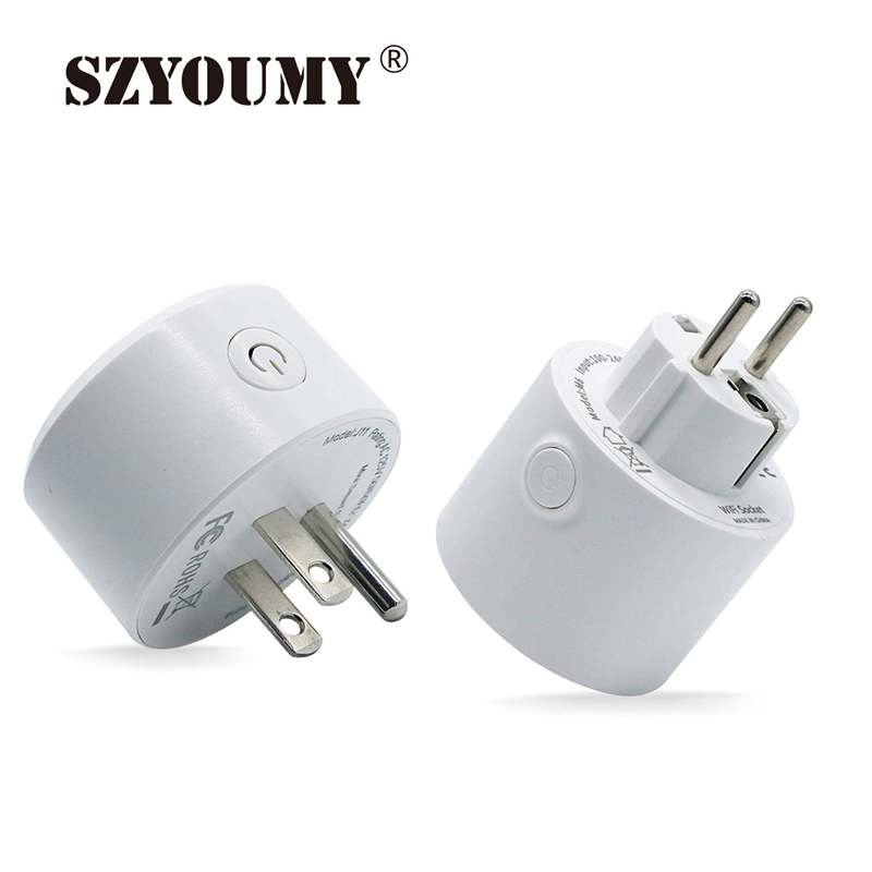 SZYOUMY US EU Mini Smart Socket 10A Wifi Plug Timing Switch Voice Control Work With Alexa Google Assistant 20pcs/lot