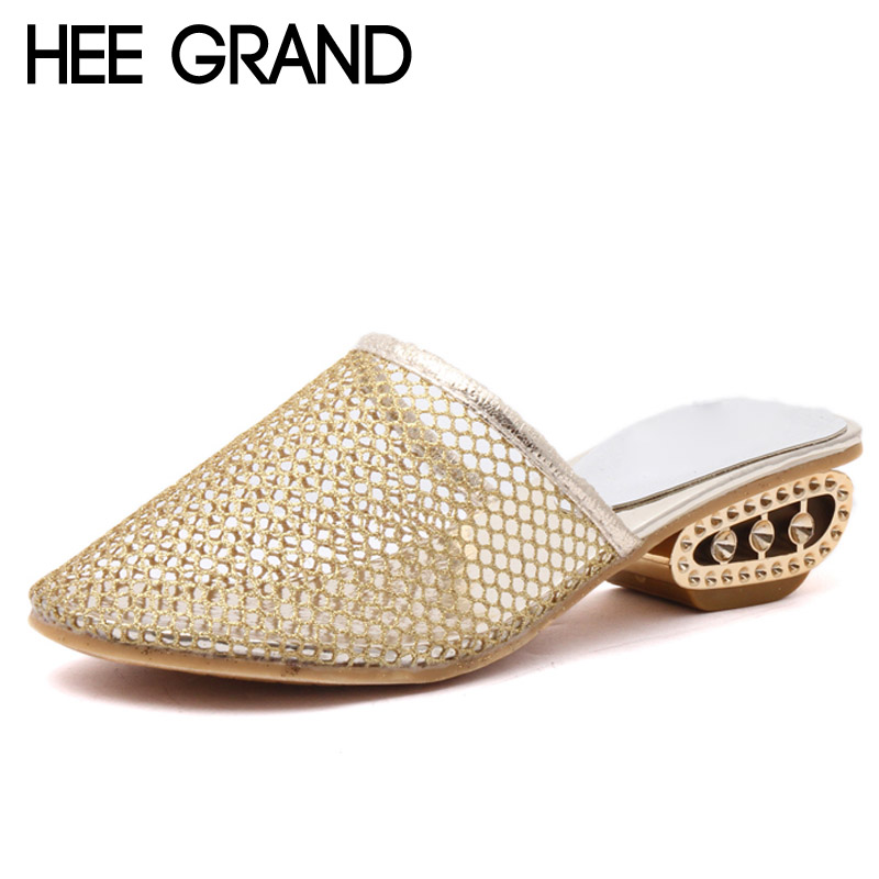 HEE GRAND Summer Mesh Sandals 2017 Sexy Gold High Heels Pointed Toe Shoes Woman Beach Low Heels Women Shoes XWZ4295 hee grand 2017 gladiator sandals gold silver shoes woman summer platform wedges glitters high heels casual women shoes xwz4018