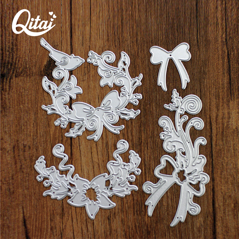 QITAI High Quality 4pcs/lot Scrapbook DIY Bow-knot Bird And Flower Production Tool Cutting Template Cutting Die Cutter D12