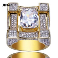 JINAO Men Rings Micro Paved Iced Out AAA Zircon 3D Suqare Gold Color Plated Rings for Male Women Bling Hip Hop Jewelry