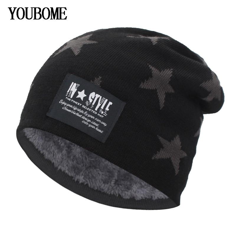 YOUBOME Men Skullies Beanies Winter Hats For Women Knitted Hat Male Hat Baggy Warm Soft Caps Bonnet Homme Skull Mask Hats Caps