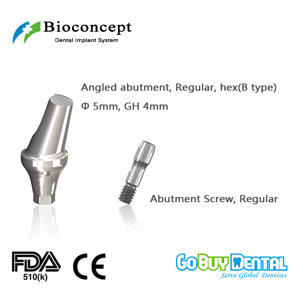 Osstem TSIII&Hiossen ETIII abutment compatible Hexagon RC angled abutment D5.0mm, gingival height 4mm, Angled 17, type B(333110)Osstem TSIII&Hiossen ETIII abutment compatible Hexagon RC angled abutment D5.0mm, gingival height 4mm, Angled 17, type B(333110)