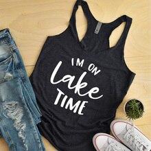 Women Tri-blend Racerback Tumblr Tank Top Summer Sexy Sleeveless Slogan Black Gym Workout Clothing Shirt Im on Lake Time Tank racerback tank top