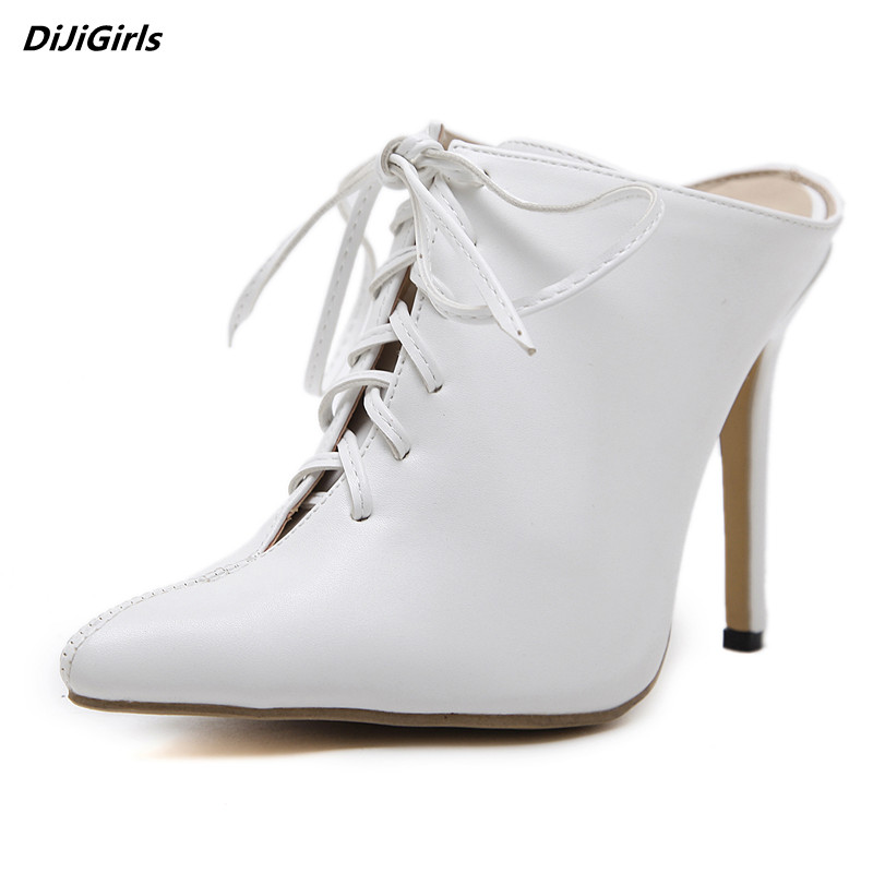 DiJiGirls women lace-up high heels slippers summer pointed toe mules shoes white wedding shoes sexy pumps womens shoes size 9 dijigirls women pumps peep toe high heels gladiator sandals shoes woman party wedding flock leather stiletto lace up summer boot
