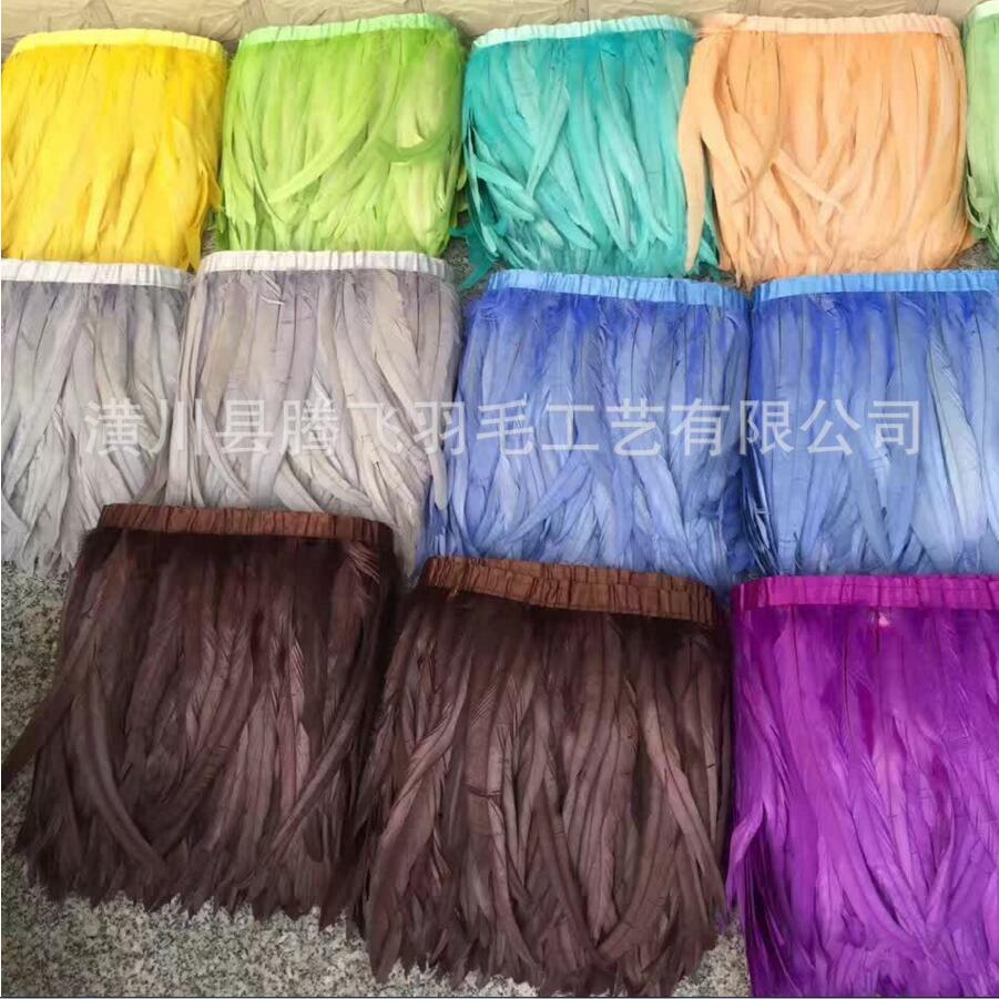 Free shipping new design 5 Yard/lcolor Rooster Coque Tail Fringes 30 35cm Sewing on Rooster feather trimming/ribbon 12 colors-in Feather from Home & Garden    1