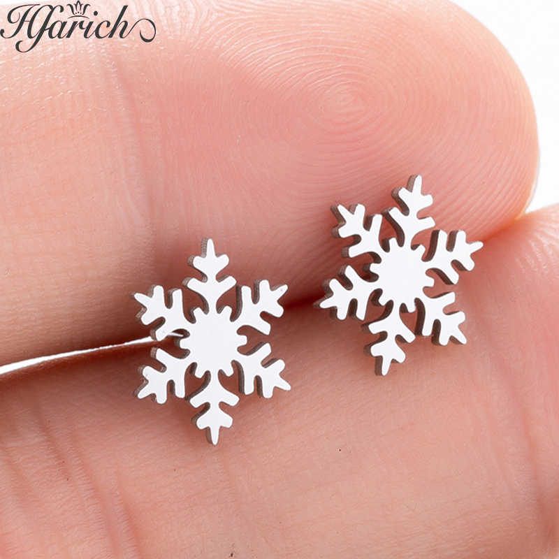 Hfarich New Fashion Charming Exquisite Generous Snow Earrings Elegant Stainless Steel Ear For Women Girls Kids Peace Party Gifts