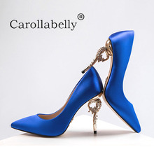 Carollabelly Brand Shoes Fashion Woemn Pumps Thin High Heel Rhinestone Mental Heel Women Wedding Shoes Pointed Toe Party Shoes