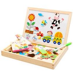 Мультипликационные Детские Игрушки для раннего развития, деревянные пазлы для детей, для парка, многофункциональные Магнитные пазлы, доска...