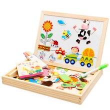 Mambobaby мультфильм детские развивающие игрушки деревянные паззлы для детей лесной парк Мультифункциональный Магнитный паззл чертежная доска