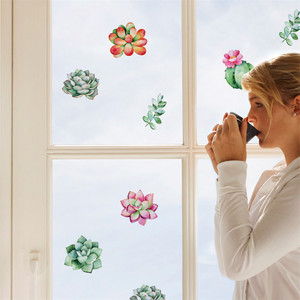 Image 1 - נייד Creative קיר מדבקות חמוד צמח מודבק עם דקורטיבי קיר חלון קישוט vinilos decorativos para פרדס