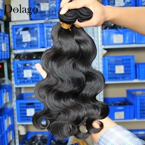 Image 2 - 実体波バンドルブラジル髪織りバンドルとともに 1 閉鎖人間のバージン毛束延長 1/3/4 個dolago髪製品