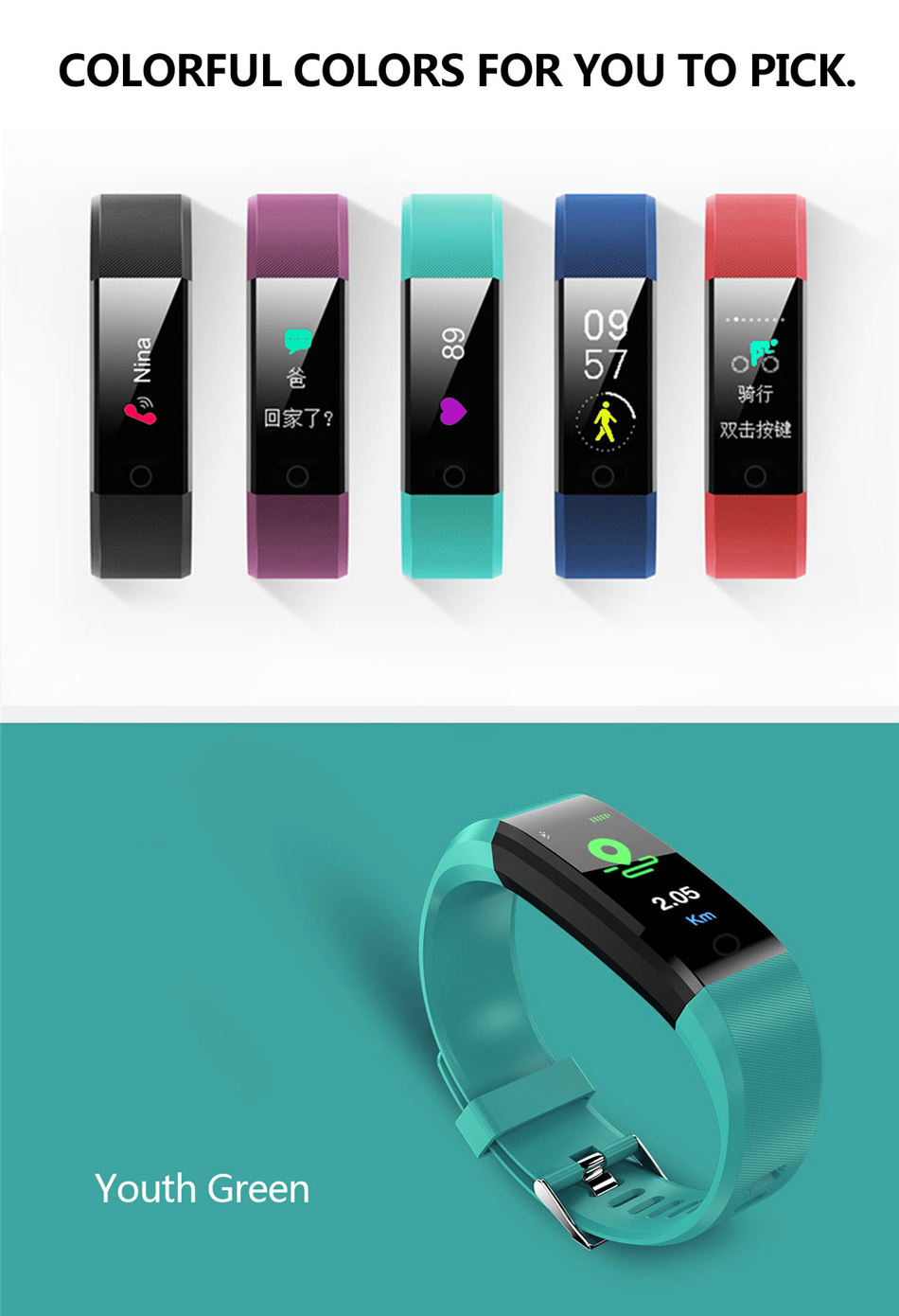 Fitness Tracker bracelet pressure measurement pedometer Smart band Heart rate monitor IP68 Waterproof smartwatch For Android ios xiaomi band 13