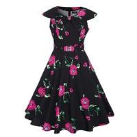 Sisjuly Vintage 1950s Red Floral Print Peter Pan Collar Dresses 2017 Summer Female Knee Length Party