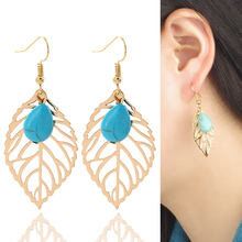 Vintage Bohemia Fashion Simple Hollow Leaves Blue Stone Exaggerated Earring Brincos Long Big Earrings Drop Dangle Earring
