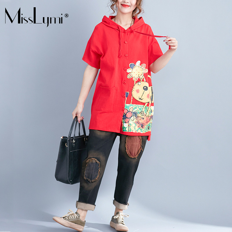 MissLymi Plus Size Womens Hoodies Shirt 2018 Summer Loose Casual Cartoon Cat Printed Short Sleeve Tops Big Pockets Long Shirts