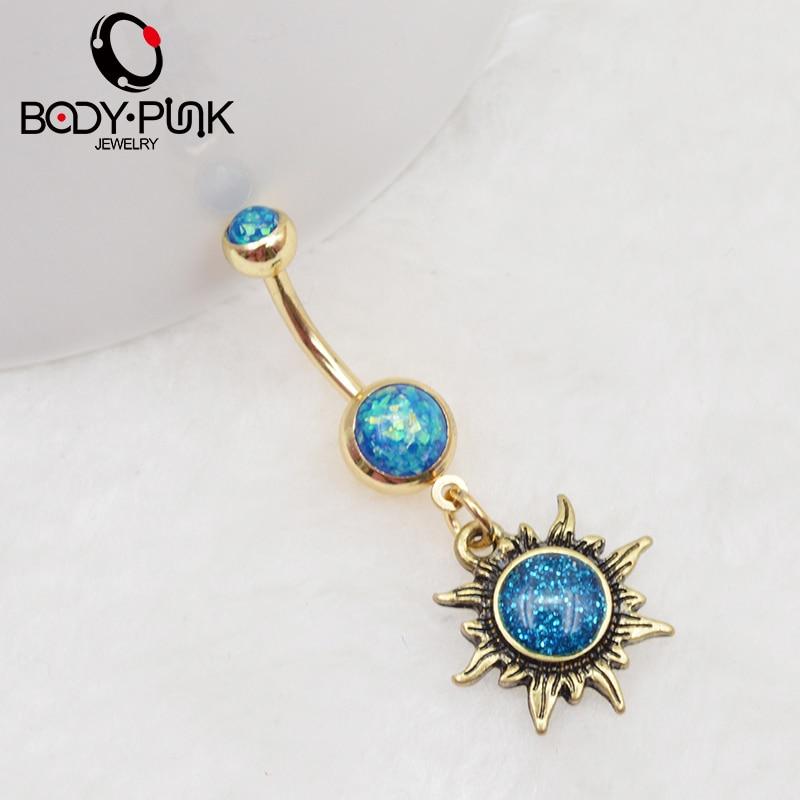 BODY PUNK Gepolijst Goud Zon Piercings Sieraden Navelring Navelringen - Mode-sieraden - Foto 4