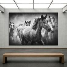 AAHH животное серый холщовый живопись бегущая Лошадь стены искусства картины печатные плакаты картины стены картина домашний Декор без рамки