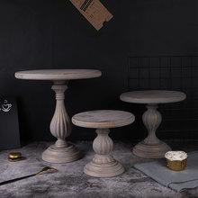 Cepillo gris Vintage plato de pastel de oro Marco de pastel de fiesta de cumpleaños plato alto de madera decoración mesa de boda