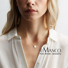 e-Manco Ladies Simple choker necklace for women real 925 sterling silver necklace round pendant necklace jewelry(China)