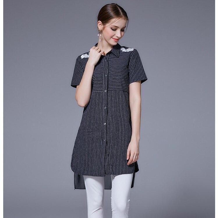 2017 Savoil Top Brand Women Summer Long Shirt Flower Striped Turn-down Collar Longer Back Fashion High Quality Oversize L-5XL