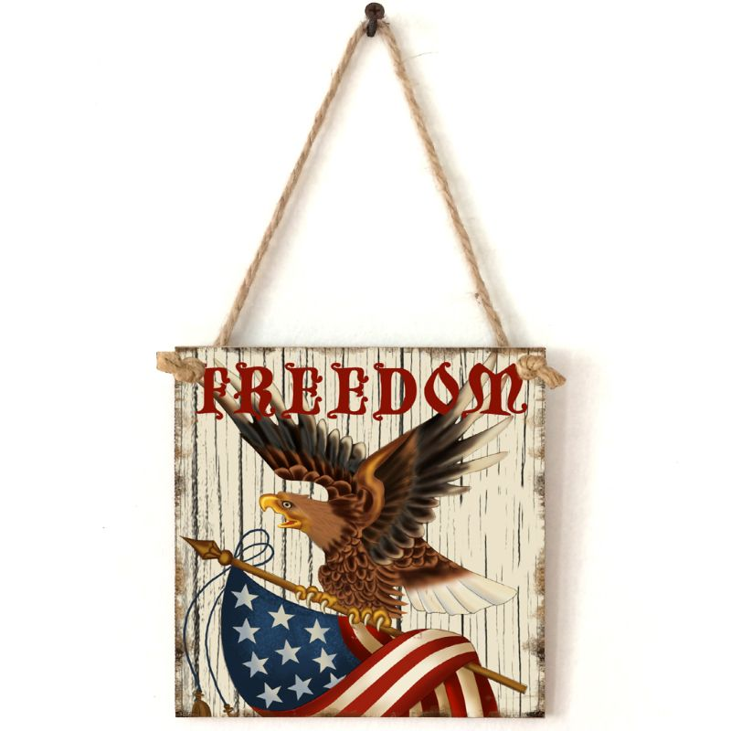 Vintage Wooden Hanging Plaque Freedom Sign Board Wall Door Home Decoration Independence Day Party Gift-in Plaques & Signs from Home & Garden