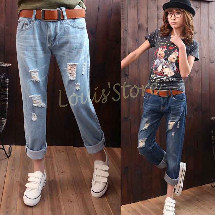 Online Shop High Quality Super Fashion Women Casual Hole Ripped ...