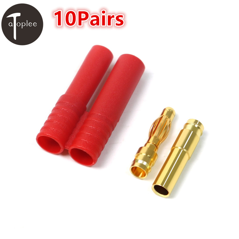 Hot 10Pairs 4mm Battery Banana Plug Adapter+Shell Brass Gilt Bullet Connectors Male+Female Battery Motor Adapter Plug Sets [vk] 553602 1 50 pin champ latch plug screw connectors