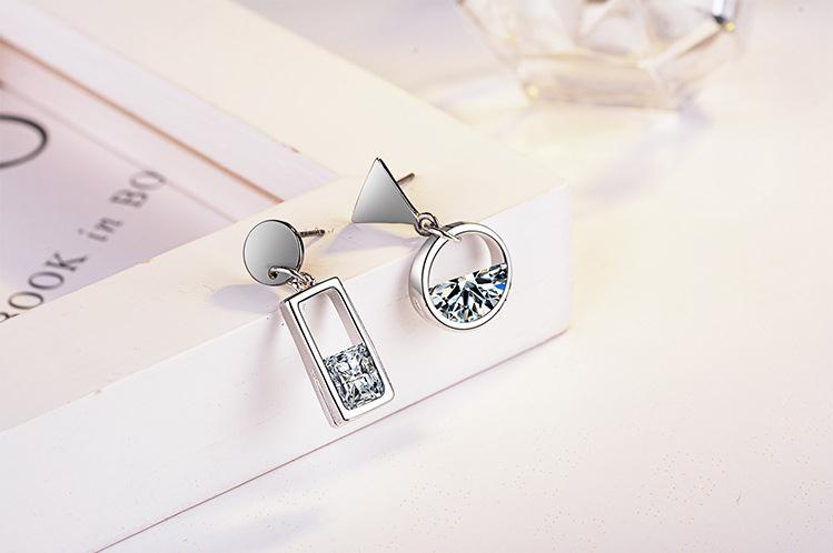 100 925 sterling silver wholesale asymmetric earring women crystal ladies stud earrings jewelry Anti allergy drop shipping girl in Stud Earrings from Jewelry Accessories