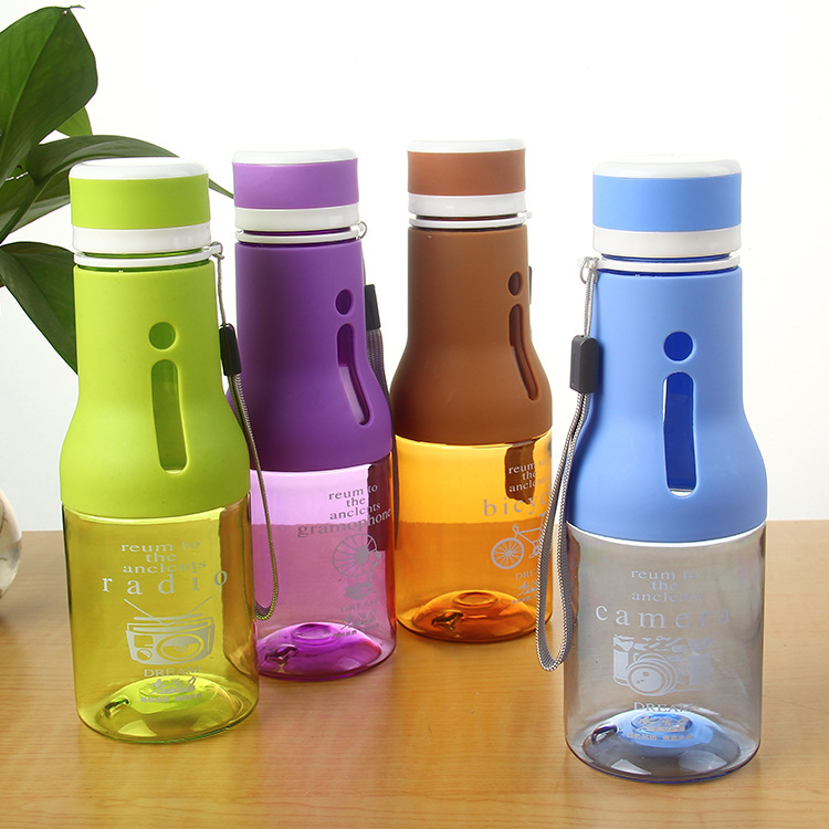 High-grade Environmental Protection Frosted Space Cup  Plastic Sport Scrub Leak Proof Drinking My Bottle With Rope(China)