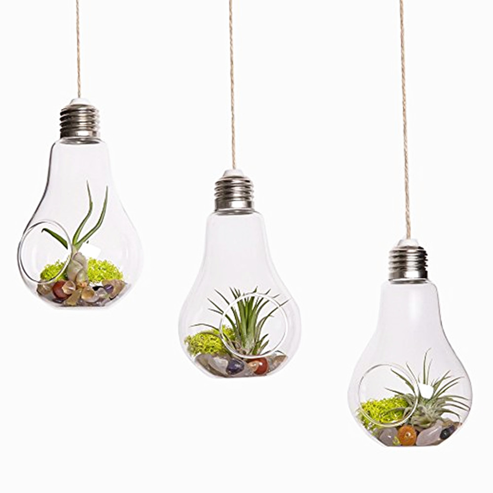 set of 3 bulb glass hanging vase hanging succulent terrarium indoor garden house decoration. Black Bedroom Furniture Sets. Home Design Ideas